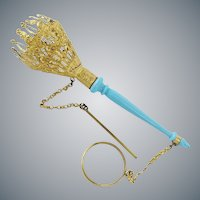 "Antique French Child's Tussie Mussie Posey Holder Porte Bouquet ""BLUE OPALINE HANDLE"""