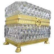Antique French Cut Crystal Paw Foot Casket Hinged Box
