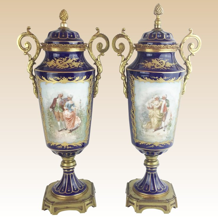 Antique French Sevres Style Double Handles Urns Vases Lovely