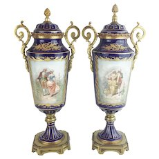 "Antique French Sevres Style Double Handles Urns Vases ""Lovely Pastoral Scenes"""