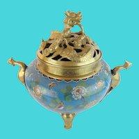 Antique Chinese Cloisonné' Brass Censer ~ Dragon Form Lid, Bird Handles & Elephant Feet