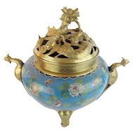 Antique Chinese Cloisonné' Brass Censer…Dragon Form Lid, Bird Handles & Elephant Feet