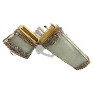 "18C Chinese Silver White Jade Etui ""Original Fitted Silver Four Pieces"""