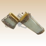 """18C Chinese Silver White Jade Etui """"Original Fitted Silver Four Pieces"""""""