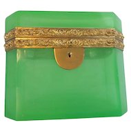 "Antique Green Opaline Casket Hinged Box ""BIG & BEAUTIFUL"""