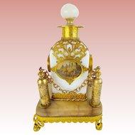 "Palais Royal  Opaline ""Eglomise"" Perfume in Ornate Holder"
