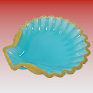 Antique French Blue Opaline Shell Dish
