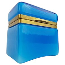 Maganificent Italian Murano Blue Hinged Box Casket  ~ AWESOME  BLUE ~