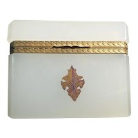 """Antique French Opaline Hinged Box 'CREAMY WHITE OPALINE"""""""