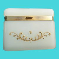 "Antique French Opaline Casket Hinged Box ""Creamy White Opaline & Beautiful Gilding"""
