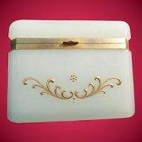 "Antique French Opaline Casket Hinged Box ""Creamy White Opaline & Beautiful Gilding"""