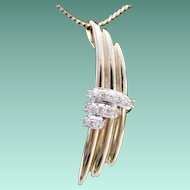 BEAUTIFUL 14KARAT Yellow Gold and Diamond Pendant