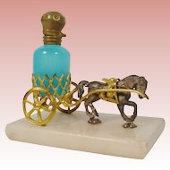 Palais Royal Horse Cart with a Blue Opaline Scent Bottle