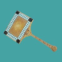 "12 ½"" Antique Austrian Jeweled Hand Mirror"