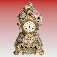 """Very Fine RARE Antique 12"""" Jacob Petit Porcelain Flower Clock"""