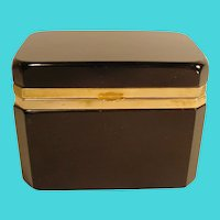 Antique French Black Opaline Hinged Box with Gorgeous  Heavy White and Gold Gilding
