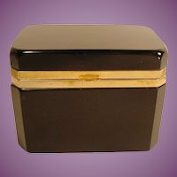 "Antique French Black Opaline Hinged Box ""LARGE BOX"""