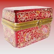 Antique Cranberry Moser Miniature Hinged Box