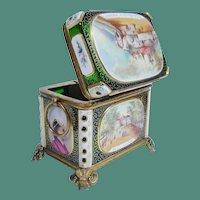 "Antique Bohemian White Cut to Green Spa Box ""A MASTERPIECE"""