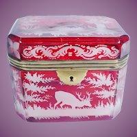 "Beautiful Antique Bohemian Ruby Hinged Box ""Stunning  ANIMALS"""