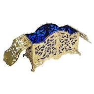 """10 ½"""" Antique French Bronze Cobalt Hinged Box """"Putti and Dolphins""""~ MASSIVE and SPECTACULAR"""