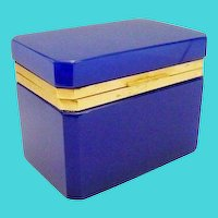 Antique French Opaline  Casket Hinged Box  ~ Deep Rich Cobalt  Blue
