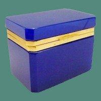 Antique French Opaline  Casket Hinged Box  ~ Deep Rich Cobalt  Blue