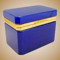 Stunning Antique French Opaline  Casket Hinged Box ~ AWESOME COLOR