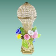 "Czech Glass Flower Lamp""RARE 1920"""