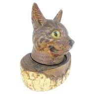 """Folk Art """"Glass Eyes"""" Cat Inkwell w Pen Holder"""