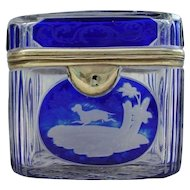 Very Fine Bohemian Cobalt Cut to Clear Casket Hinged Box ~ Stunning  Hunting Scene with Dog, Fox, Quail Rabbit and Stag