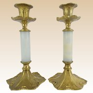 """Antique Onyx and Bronze Candlestick""""PAIR"""""""