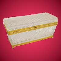 Antique French Baccarat Diamond Cut Crystal Casket Hinged Box