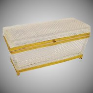Stunning Antique French Baccarat Diamond Cut Crystal Casket Hinged Box ~ A BEAUTY!