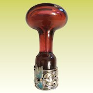 """Antique Silver Ruby Glass Wax Seal """"MASSIVE"""""""