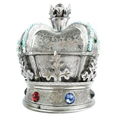"Grandest Fred Zimbalist, Thoren Jeweled Musical Crown Hinged Box  ""BIG"""