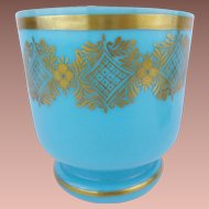 Antique French Blue Opaline Cachepot Jardiniere ~  EXQUISITE GILDING ~ Just the Perfect Place for an Orchid Plant
