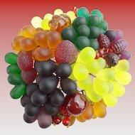 1920 Czech Glass Fruit Lamp Basket