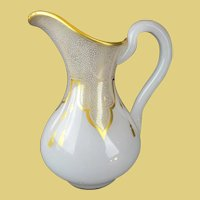 Antique French White Opaline Pitcher Draped in Gilding Lace & Tassels