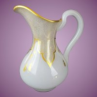 "Antique French White Opaline Pitcher Draped in Gilding Lace & Tassels ""EXQUISITE"""