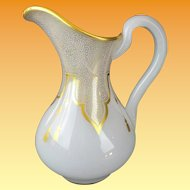 """Antique French White Opaline Pitcher Draped in Gilding Lace & Tassels """"EXQUISITE"""""""