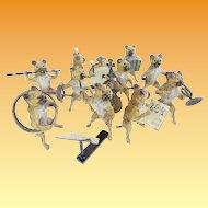 "Antique Austria Bronze PUG DOGS  Band  ""10 Musicians"""