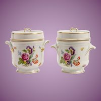 Antique French Limoges Covered  Cachepots ~ PAIR ~ Gorgeous Flowers and Exquisite Gilding