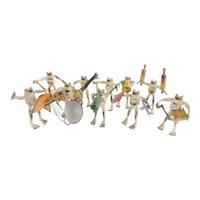 "Antique  Austria Bergmann Bronze Frog Orchestra ""TEN MUSICIANS'"
