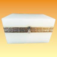 Antique White Opaline Casket Hinged Box