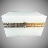 Antique White Opaline Casket Hinged Box
