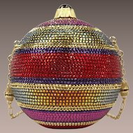 """Judith Leiber Holiday Noel Multi-color Sphere Ornament Minaudiere Clutch Evening Bag  """"NEVER USED"""""""