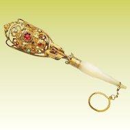 """Antique Austrian Jeweled Tussie Mussie Posey Holder 'DIVINE"""""""