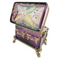 Antique Moser Double Handle Purple Hinged Box Casket