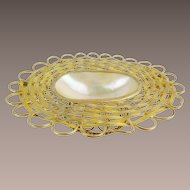 "Palais Royal  French Mother of Pearl Basket Trinket ""DOUBLE HANDLE"""